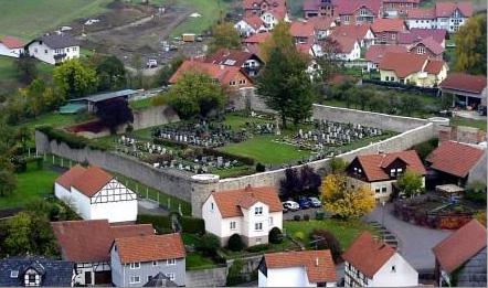 Luftbild von Friedhof
