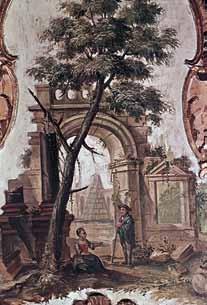 Gemälde von ein Baum und Menschen im Hintergrund ist eine Mauer mit Torbogen