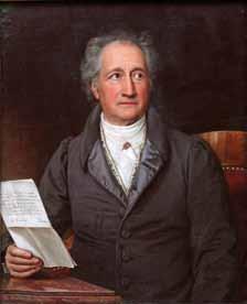 Gemälde von Goethe mit Blätter in der Hand